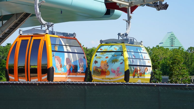 Disney Skyliner Gondola Construction Update May 2019 winnie the pooh and Peter Pan gondolas
