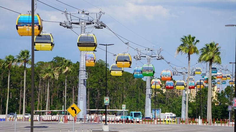 Disney Skyliner Gondola Construction Update May 2019 lots of gondolas overhead