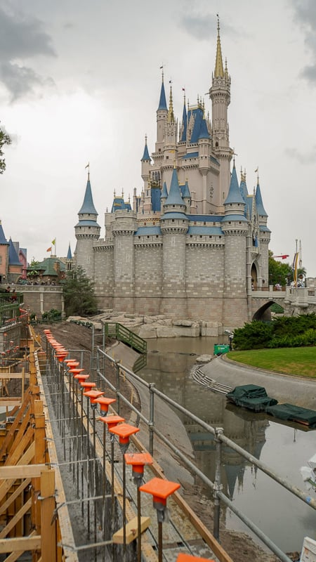 Cinderella Castle Pathway widening Magic Kingdom May 2019 retention wall concrete
