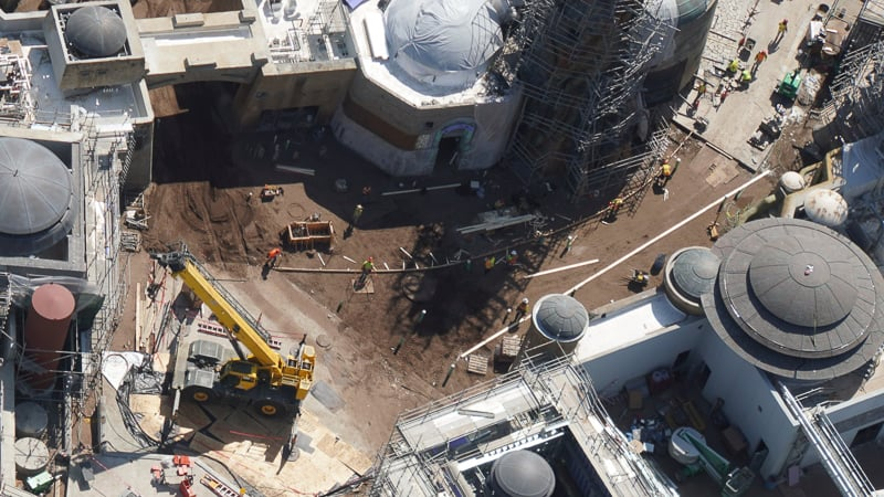 Star Wars Galaxy's Edge Construction Updates May 2019 concrete forms