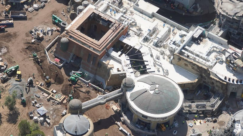 Star Wars Galaxy's Edge Construction Updates May 2019 Docking Bay 7 over top