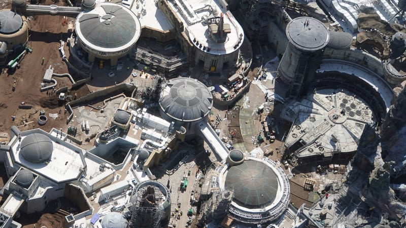 Star Wars Galaxy's Edge Construction Updates May 2019 around the Millennium Falcon