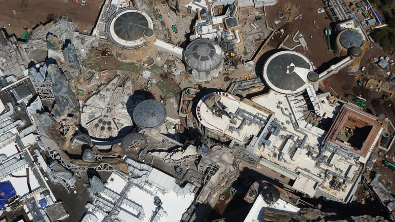 Star Wars Galaxy's Edge Construction Updates May 2019 Millennium Falcon aerial