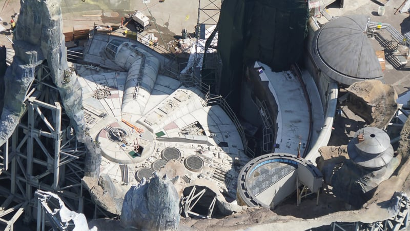 Star Wars Galaxy's Edge Construction Updates May 2019 Millennium Falcon close
