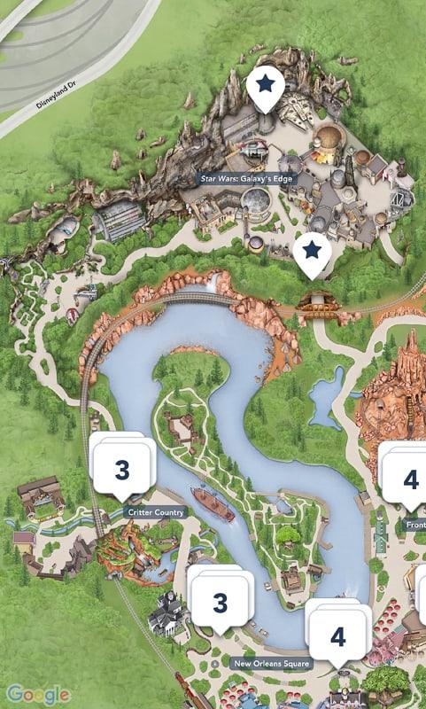 Star Wars Galaxy's Edge Map Disneyland App Full View