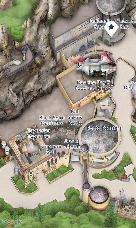 Star Wars Galaxy's Edge Map Disneyland App Docking Bay 7