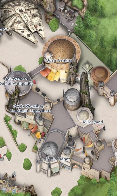 Star Wars Galaxy's Edge Map Disneyland App Oga's Cantina