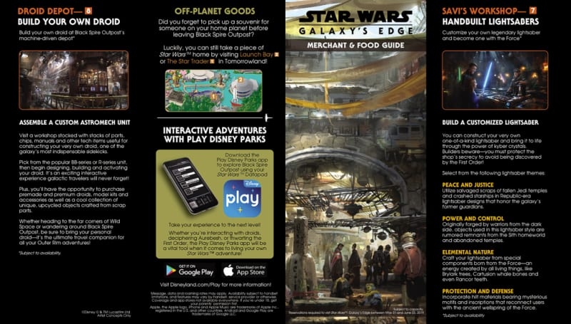 Star Wars Galaxy's Edge Merchant and Food Guide