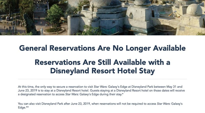 Star Wars Galaxy's Edge Free Reservations Sold Out