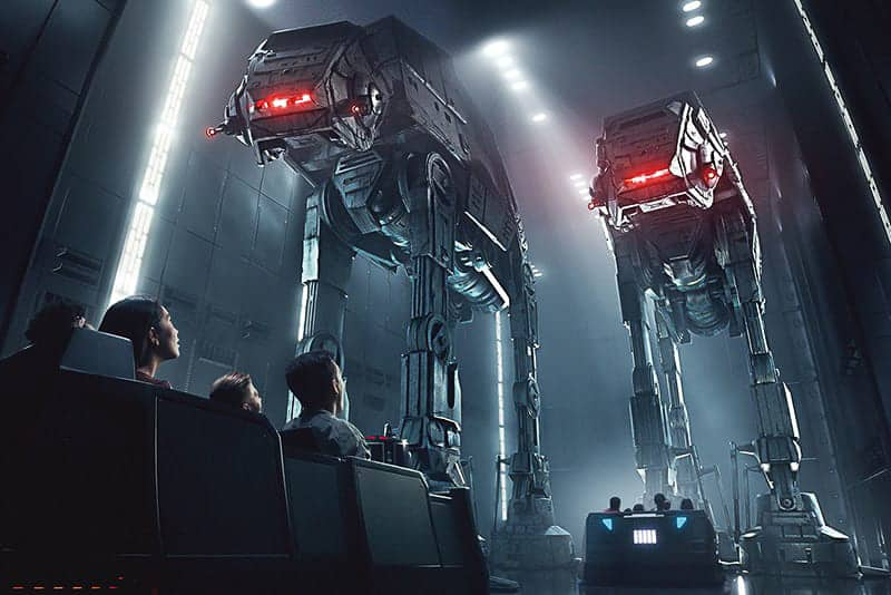 Facing off against AT-AT's in Star Wars: Rise of the Resistance