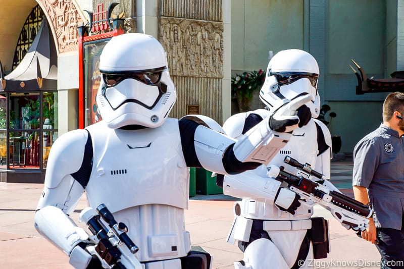 Stormtroopers escorting guests out of Star Wars Galaxy's Edge