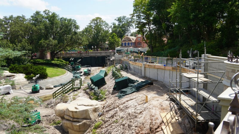 View of the moat in Magic Kingdom during the pathway widening
