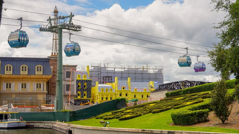 Disney Skyliner Gondola Construction Updates June flying over France