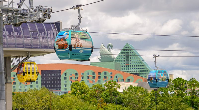 Disney Skyliner Gondola Construction Updates June in front of Swan hotel