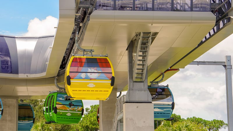 Disney Skyliner Gondola Construction Updates June passing through turn station
