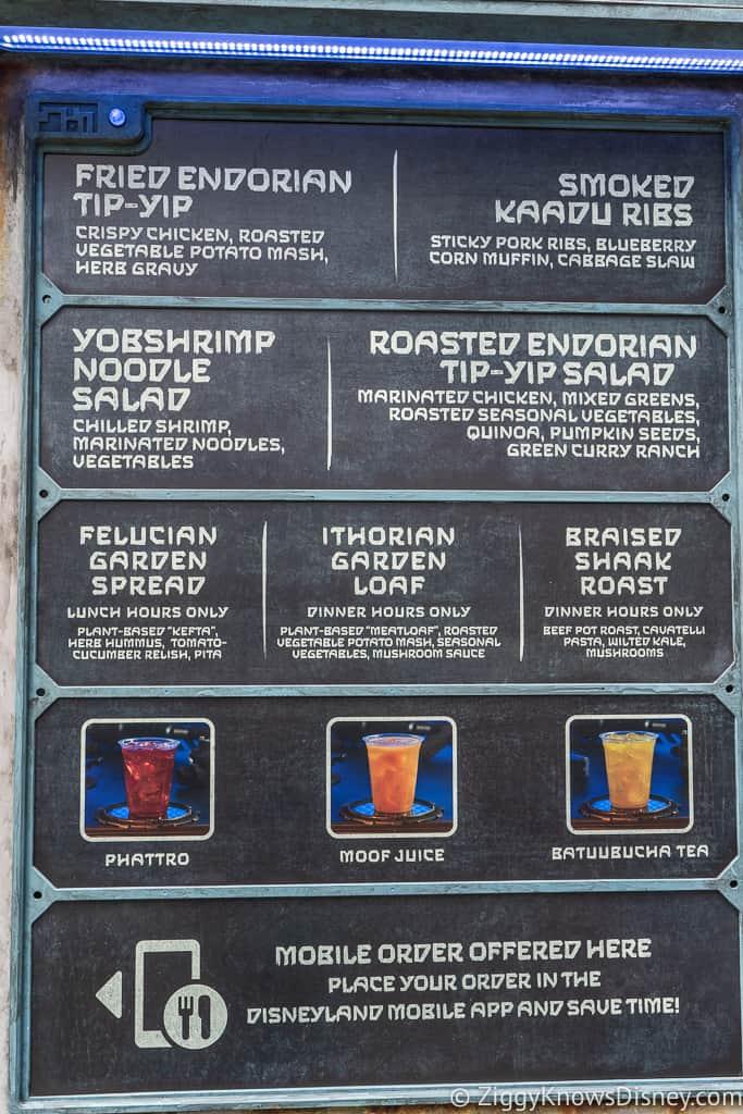 Docking Bay 7 Food and Cargo menu outside