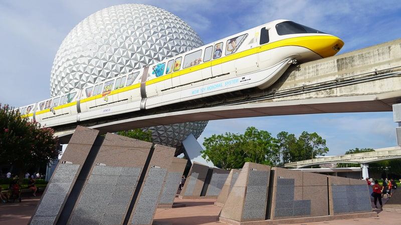 monorail over the east side leave a legacy monoliths Epcot entrance