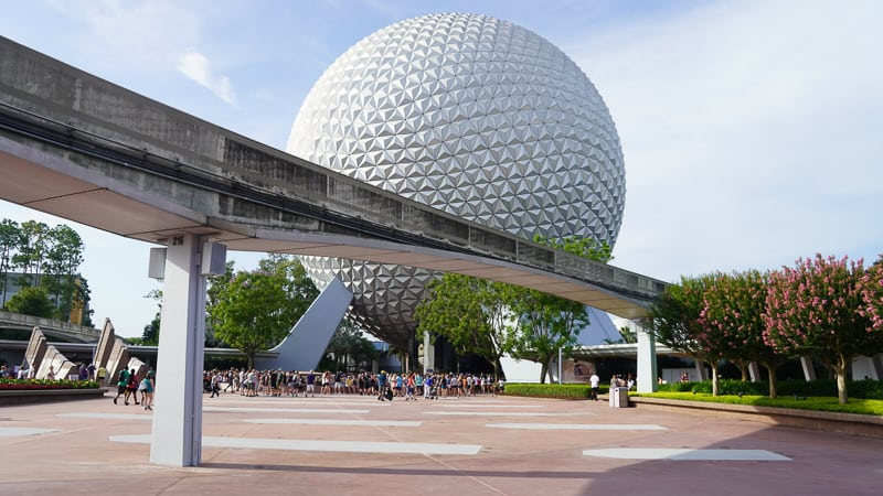 construction wall down around West Side Epcot entrance, Leave a Legacy gone