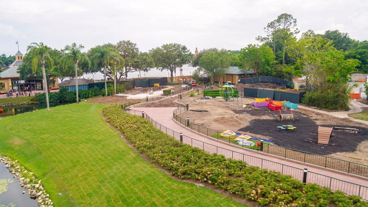 aerial of Epcot pathway to Imagination Pavilion widened