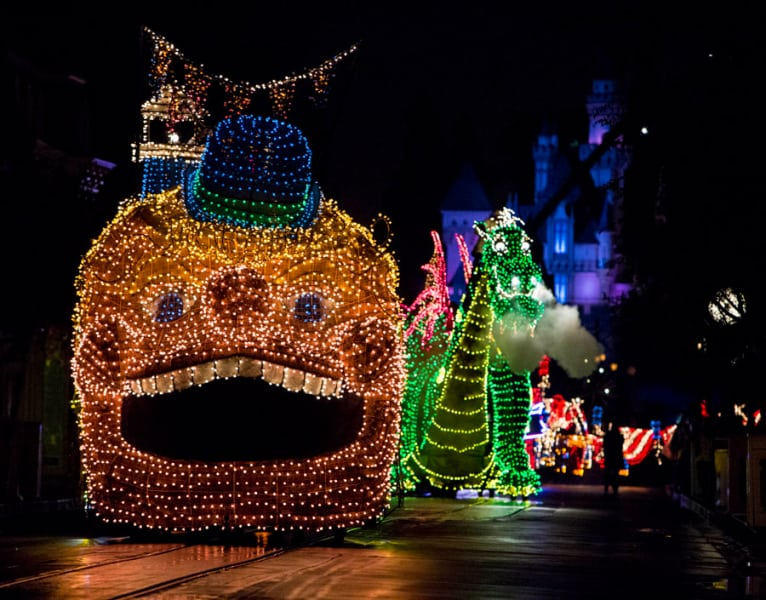 view from the front of the Main Street Electrical Parade in Disneyland Park