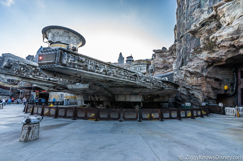 in front of the Millennium Falcon Smuggler's Run Ride