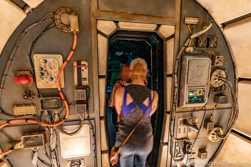 Millennium Falcon Smuggler's Run Ride entering the cockpit