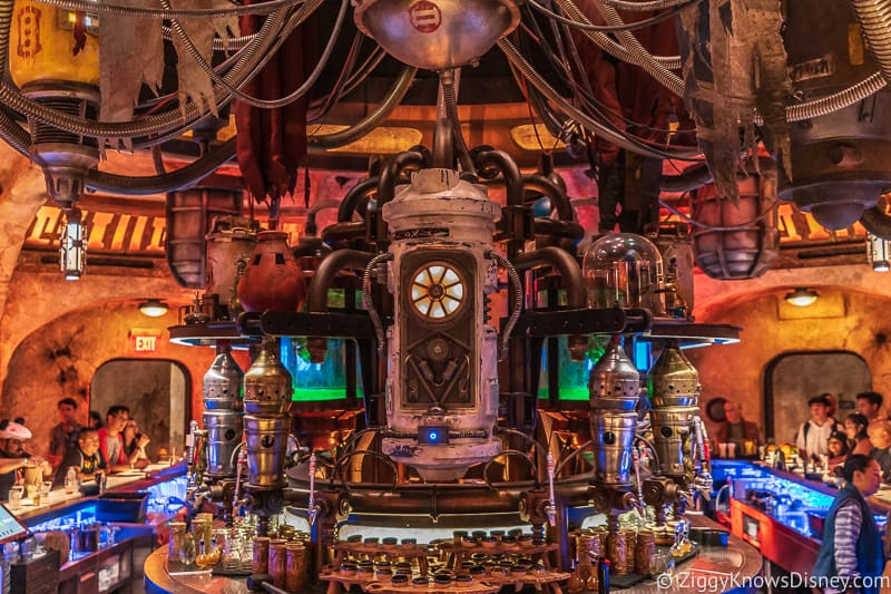 behind the bar in Oga's Cantina