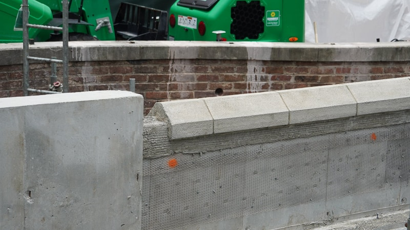 Close up of new wall for sidewalk expansion