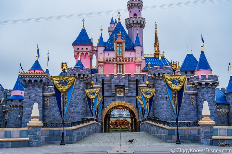Sleeping Beauty Castle Disneyland front with a duck