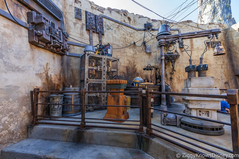 a bunch of droids in Star Wars Galaxy's Edge
