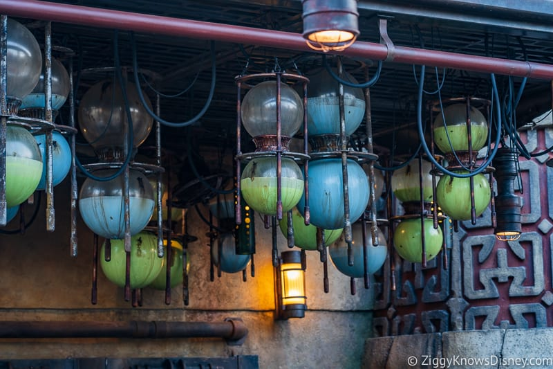 green and blue milk containers at milk stand in Star Wars Galaxy's Edge