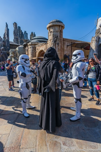Stormtroopers and Kylo Ren in Star Wars Galaxy's Edge Disneyland