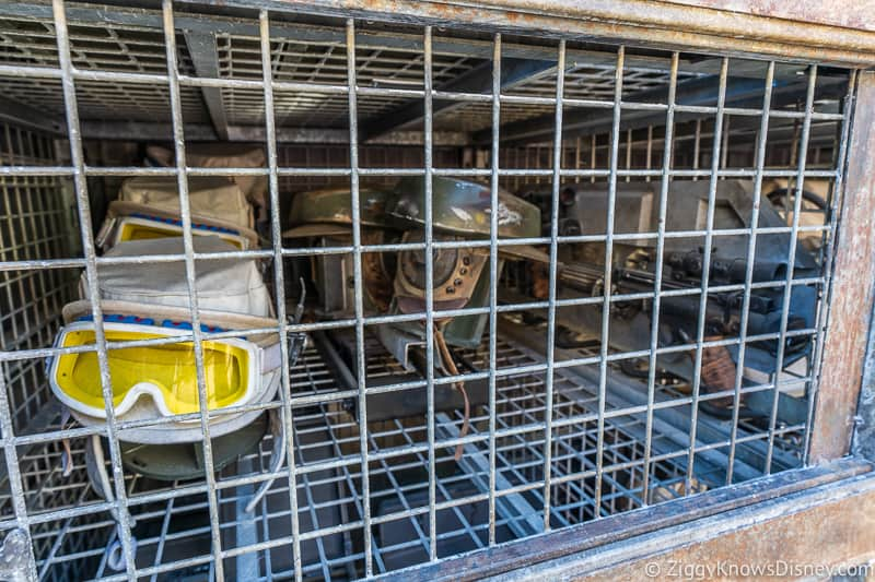 helmets in a cage Star Wars Galaxy's Edge