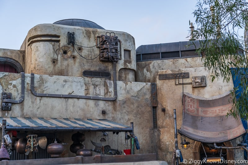 top of buildings in Star Wars Galaxy's Edge
