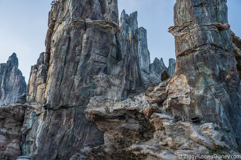 Star Wars Galaxy's Edge spires above Millennium Falcon