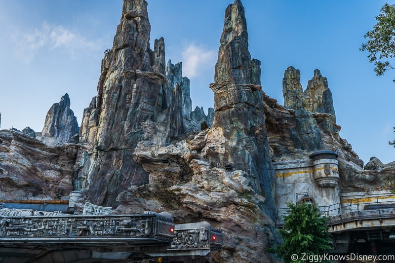 Star Wars Galaxy's Edge towers above Millennium Falcon
