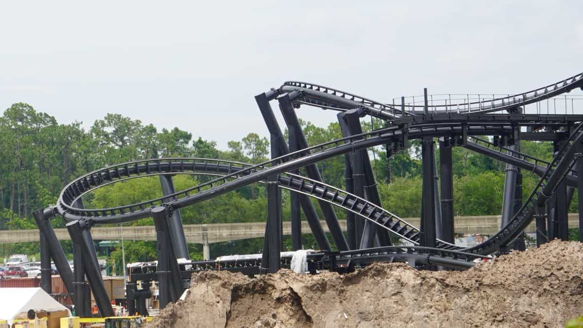 TRON Roller Coaster Construction Update June 2019 closeup of track