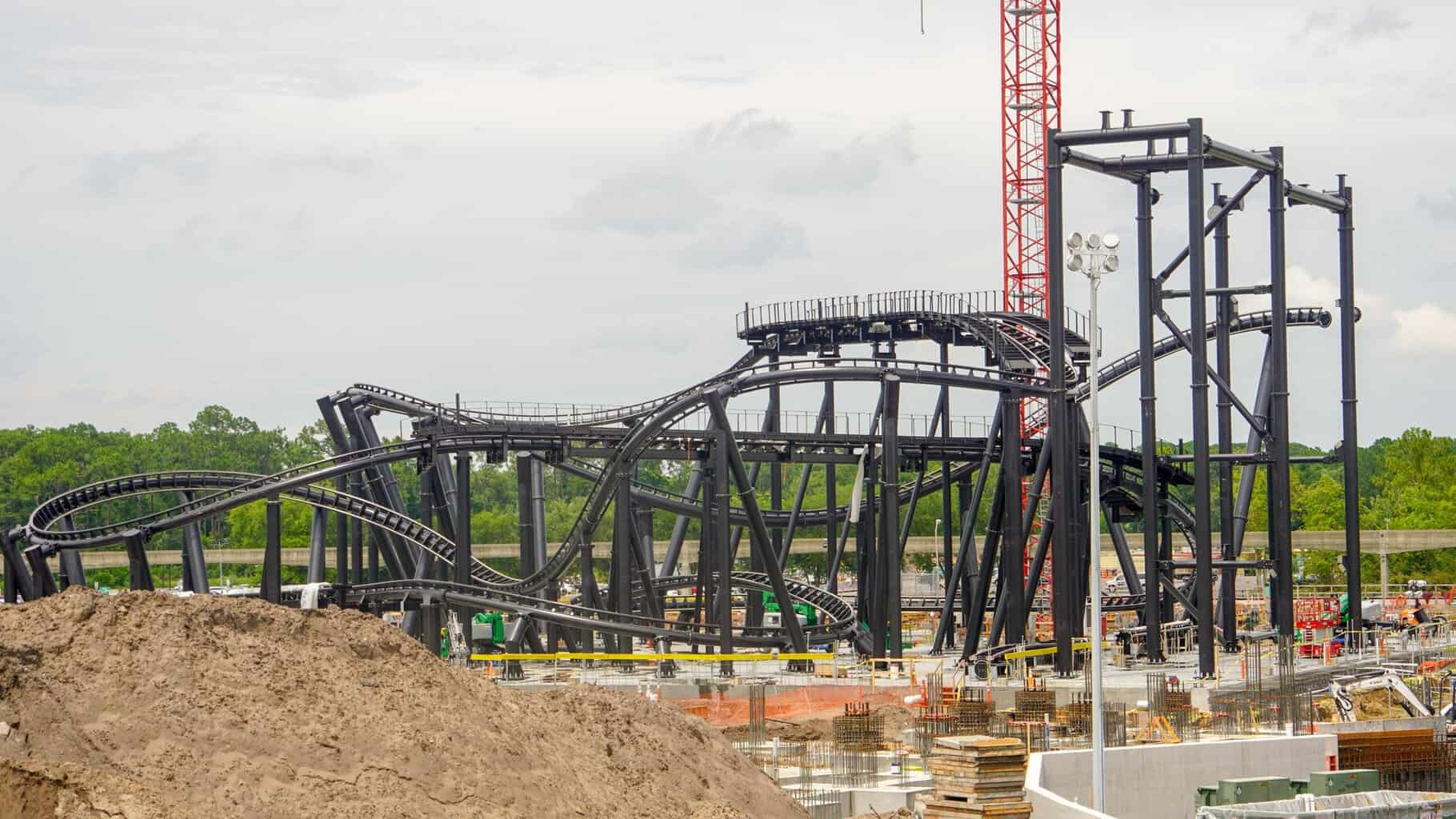TRON Roller Coaster Construction Update Track almost finished