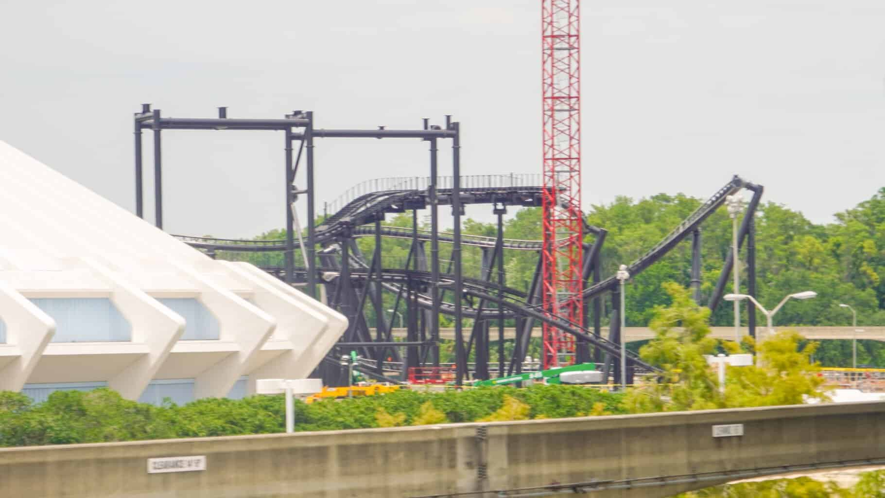 TRON Roller Coaster Construction track installation