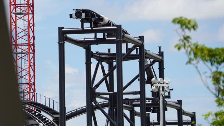 TRON Roller Coaster Construction Update June 2019 high track piece