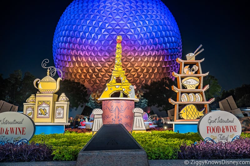 entrance to Epcot with Food and Wine Festival display