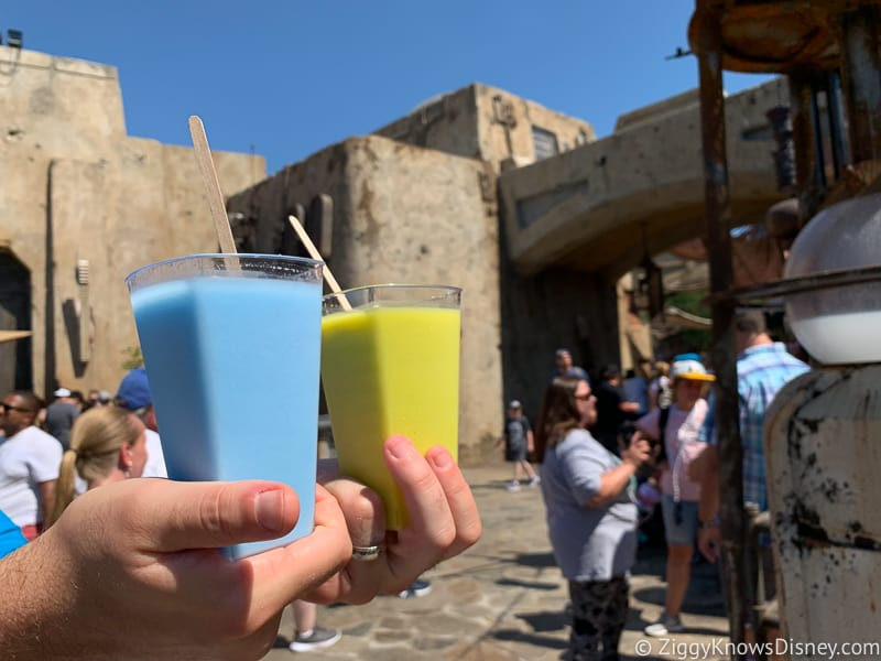 walking with green and blue milk in Galaxy's Edge