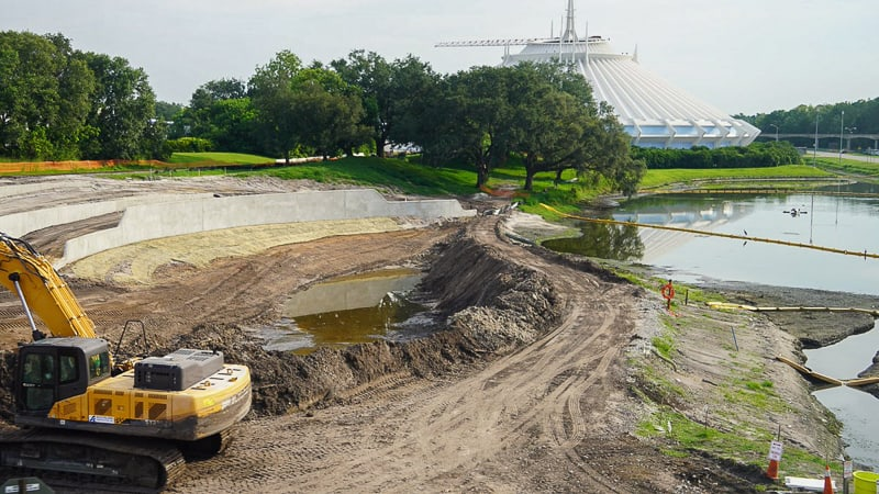 digging pond at Magic Kingdom berm