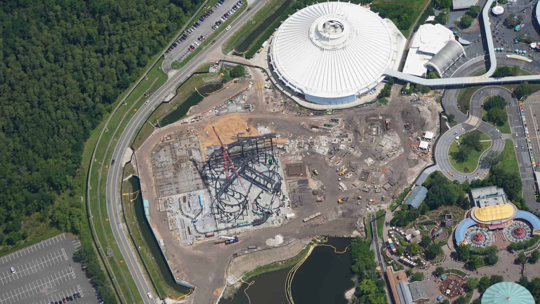 overhead view of TRON coaster site July 2019