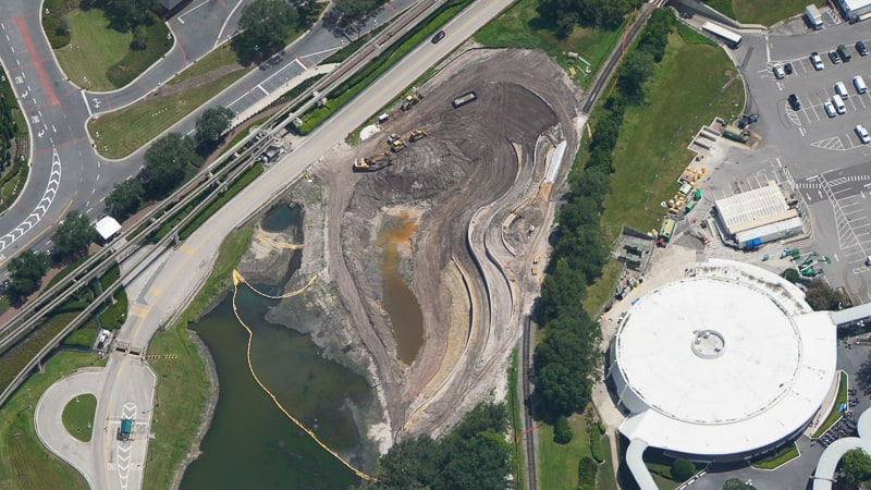 Aerial of new retention pond in Magic Kingdom July 2019