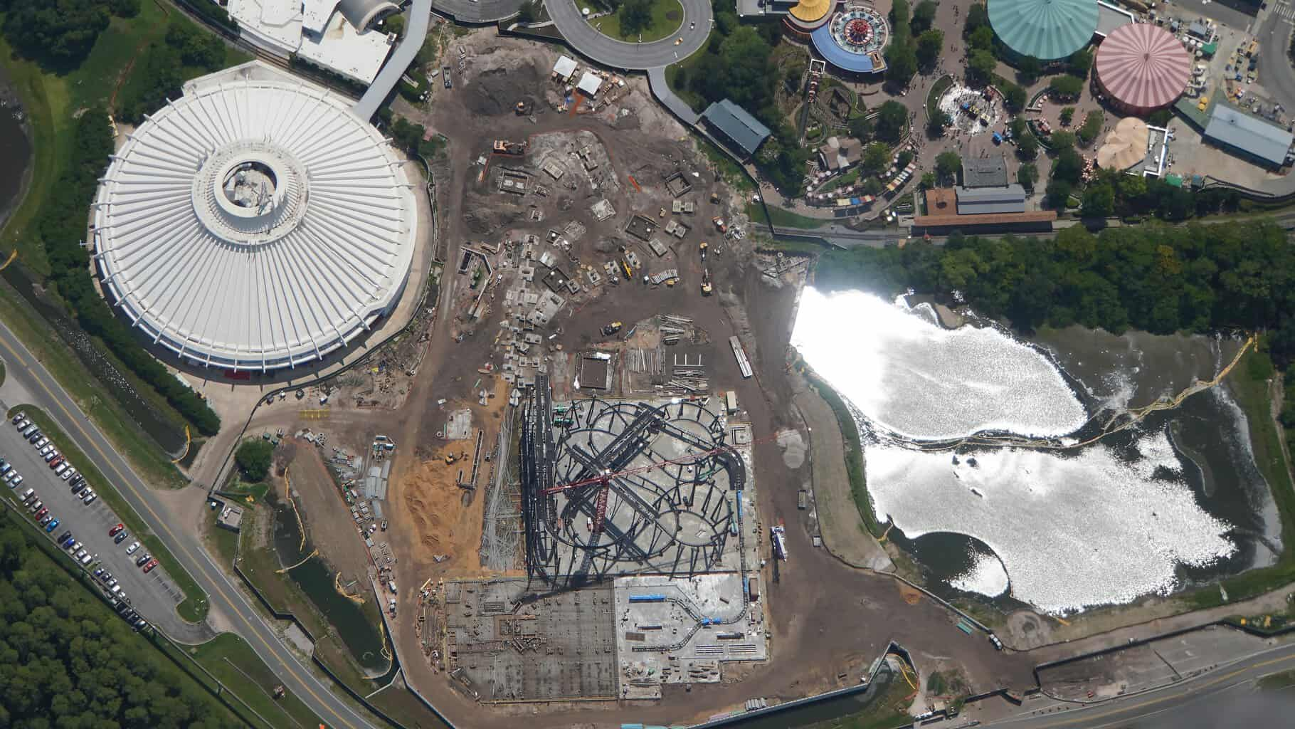 Overhead look at TRON coaster construction site magic kingdom July 2019