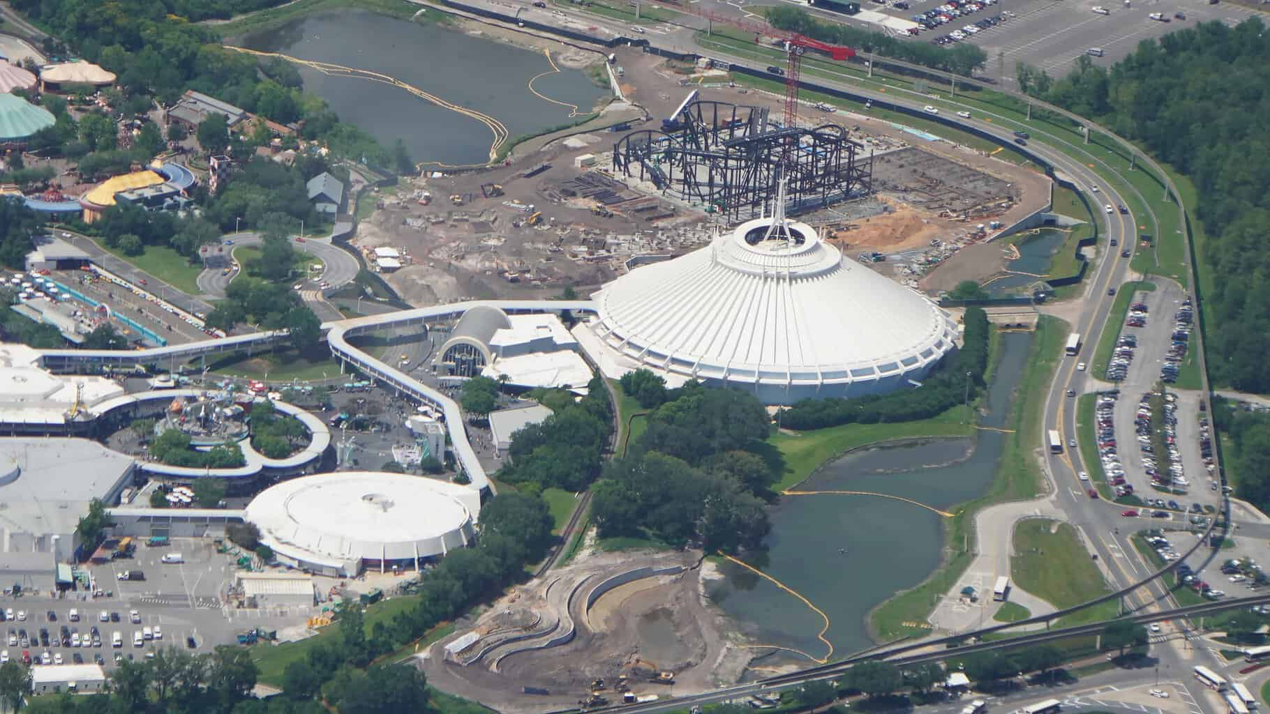 aerial photo of Space Mountain and TRON coaster July 2019