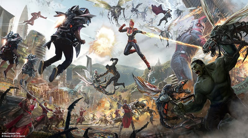 Avengers Ride Disney California Adventure concept art battle