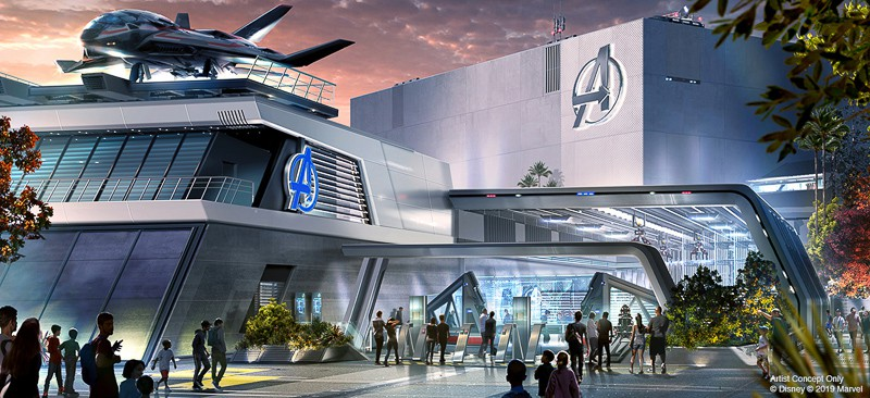 Avengers Ride Disney California Adventure concept art outside