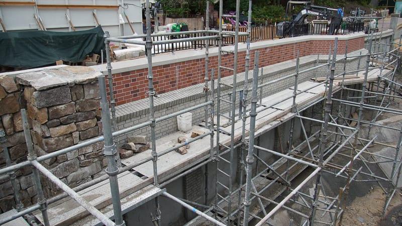 Cinderella Castle walkway Magic Kingdom Update August 2019 new brick wall